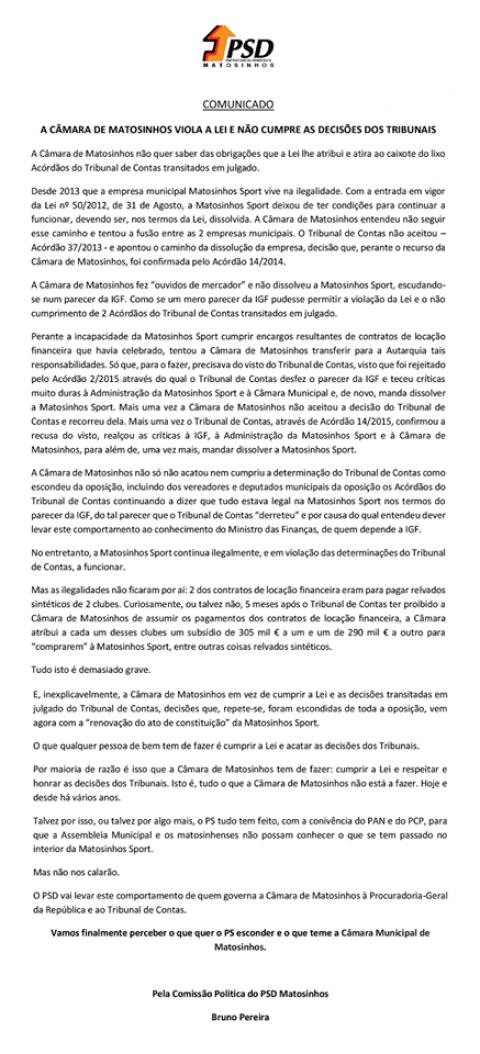 Câmara de Matosinhos Viola a Lei e Não cumpre as Decisões dos Tribunais