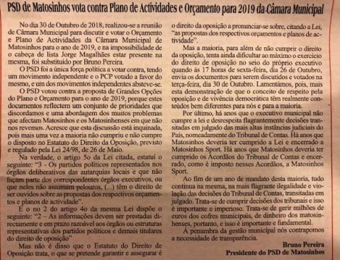 PSD de Matosinhos vota contra o plano de atividades e orçamento para 2019 da câmara municipal de matosinhos
