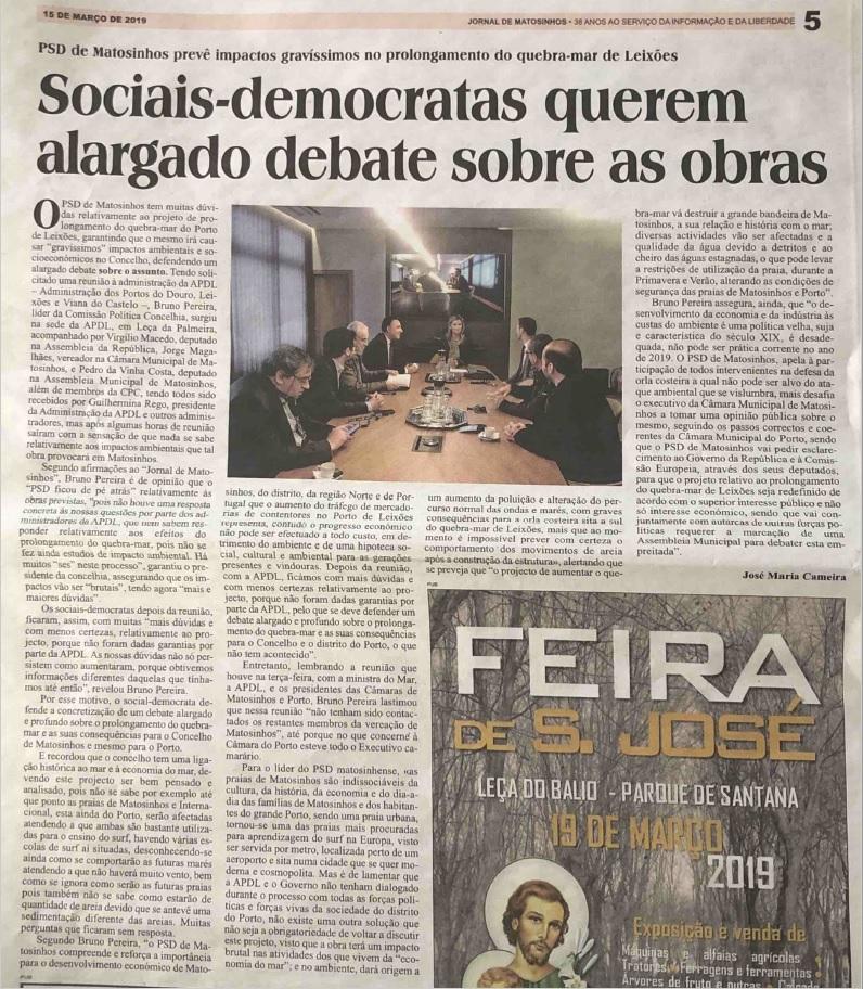 Notícia do Jornal de Matosinhos sobre a reunião com a Administração da APDL