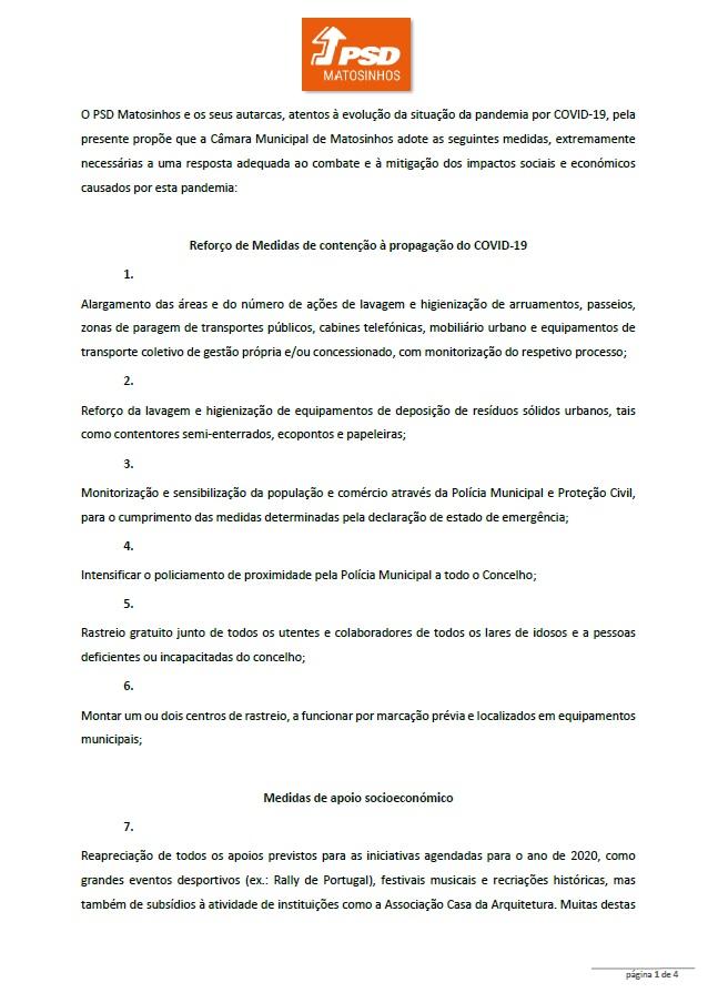 PSD Matosinhos propõe medidas para o Concelho no âmbito da COVID'19