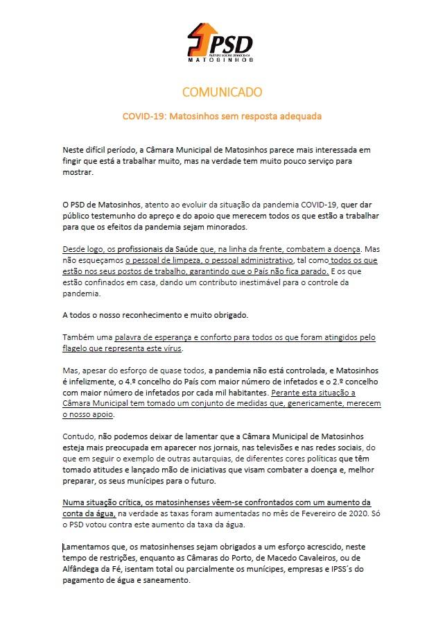 Comunicado: COVID-19 Matosinhos sem resposta adequada