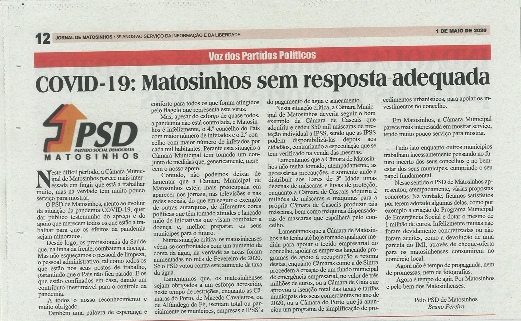 JM: COVID-19: Matosinhos sem resposta adequada