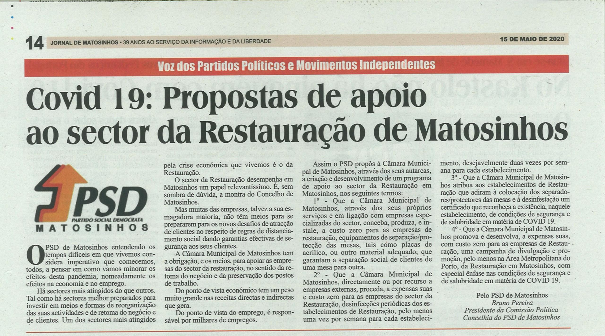 JM: COVID-19: Propostas de apoio ao sector da Restauração de Matosinhos