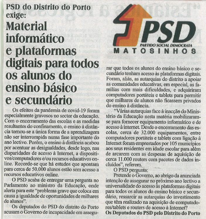 JM: PSD exige material informático para alunos