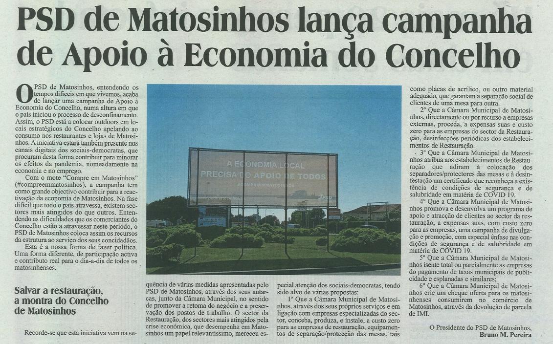 JM: PSD de Matosinhos lança campanha de Apoio à Economia do Conselho