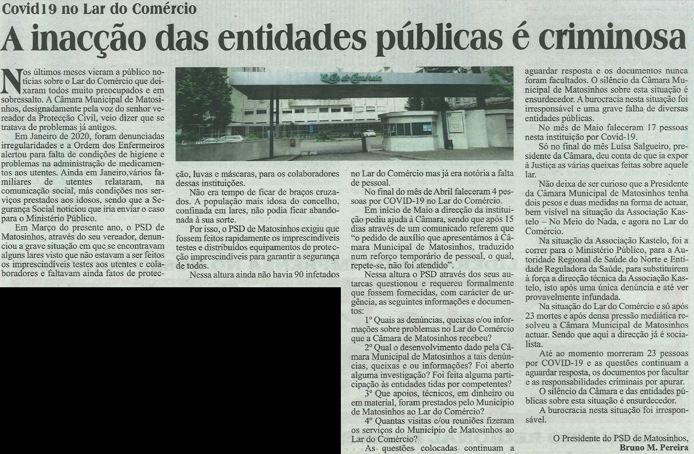 JM: Covid19 no Lar do Comércio - A inação das entidades públicas é criminosa