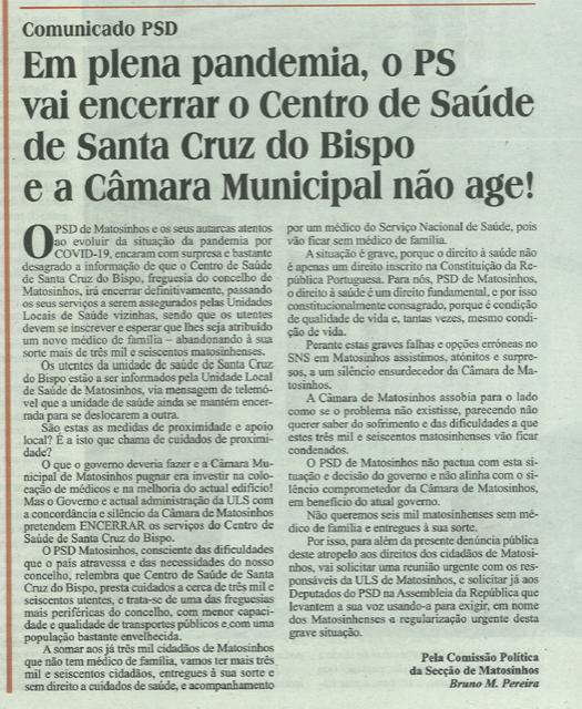 Comunicado: Em plena pandemia, o PS vai encerrar o Centro de Saúde de Santa Cruz do Bispo e a Câmara Municipal não age!